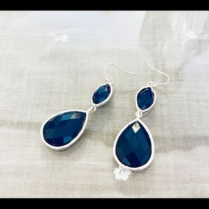 Long Navy Earrings with Silver Outline